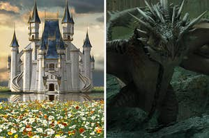 a castle in a flower field on the left and a dragon from harry potter on the right