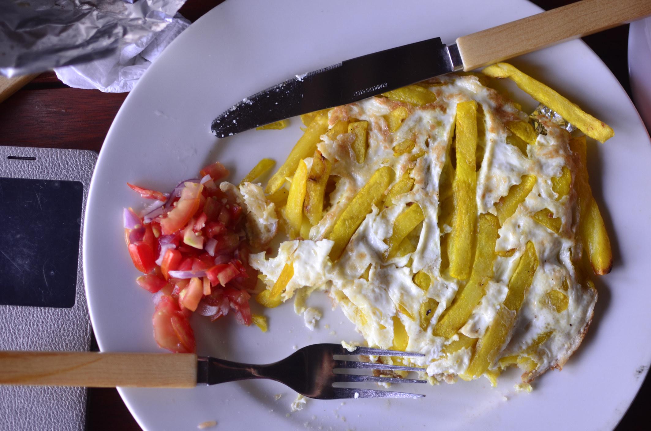 A French fry omelet aka Chips Mayai