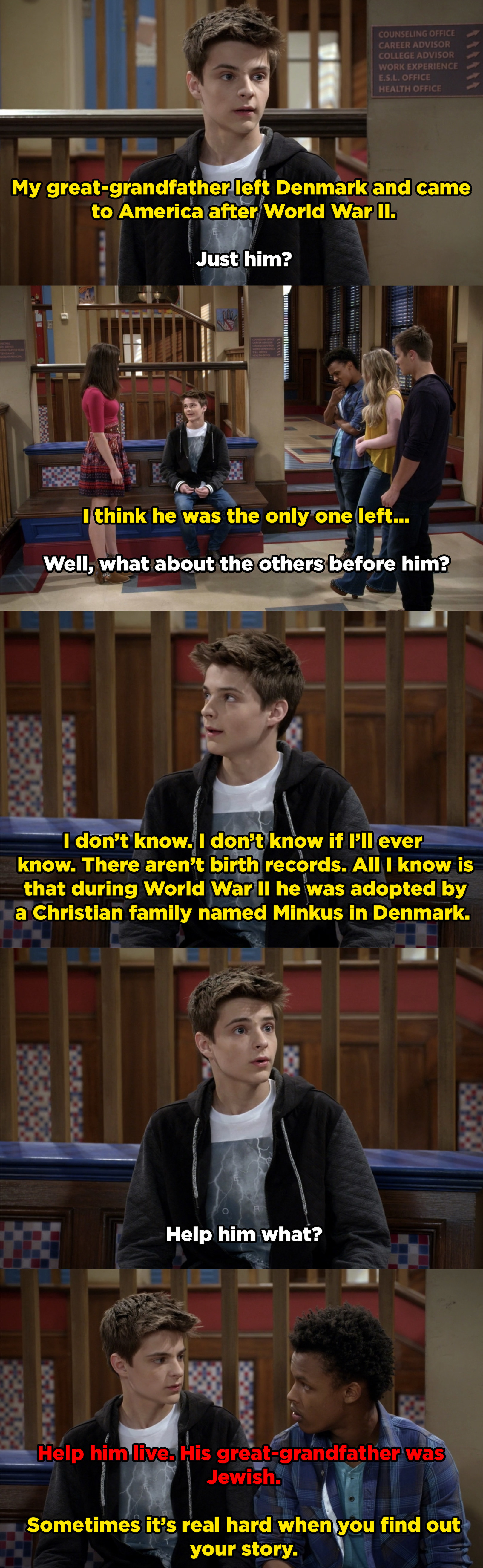 Farkle explains to his friends that his great-grandfather was adopted after World War II because the rest of his ancestors were Jewish and killed during the Holocaust.