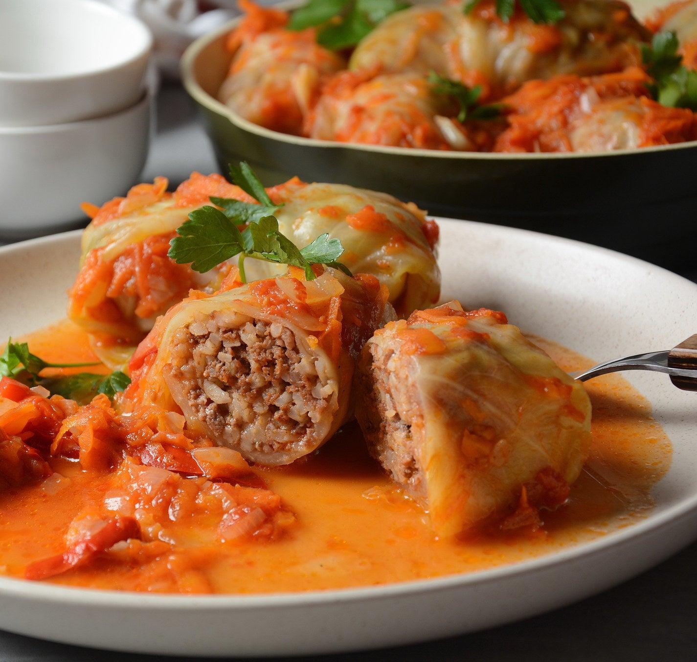 Romanian stuffed cabbage rolls.