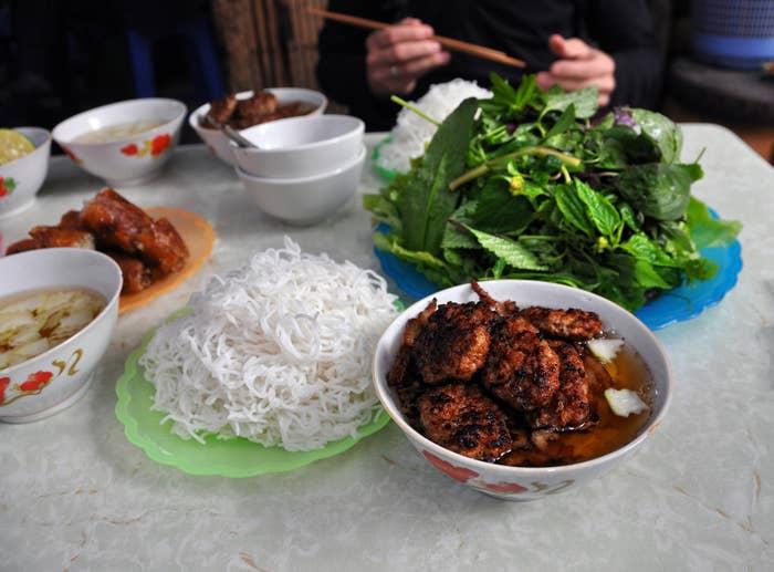 Vietnamese bun bo with rice noodles.