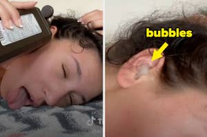 a woman pouring peroxide into her ear and it bubbling in her ear canal