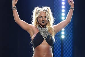 Britney Spears performs onstage at the 2016 iHeartRadio Music Festival at T-Mobile Arena