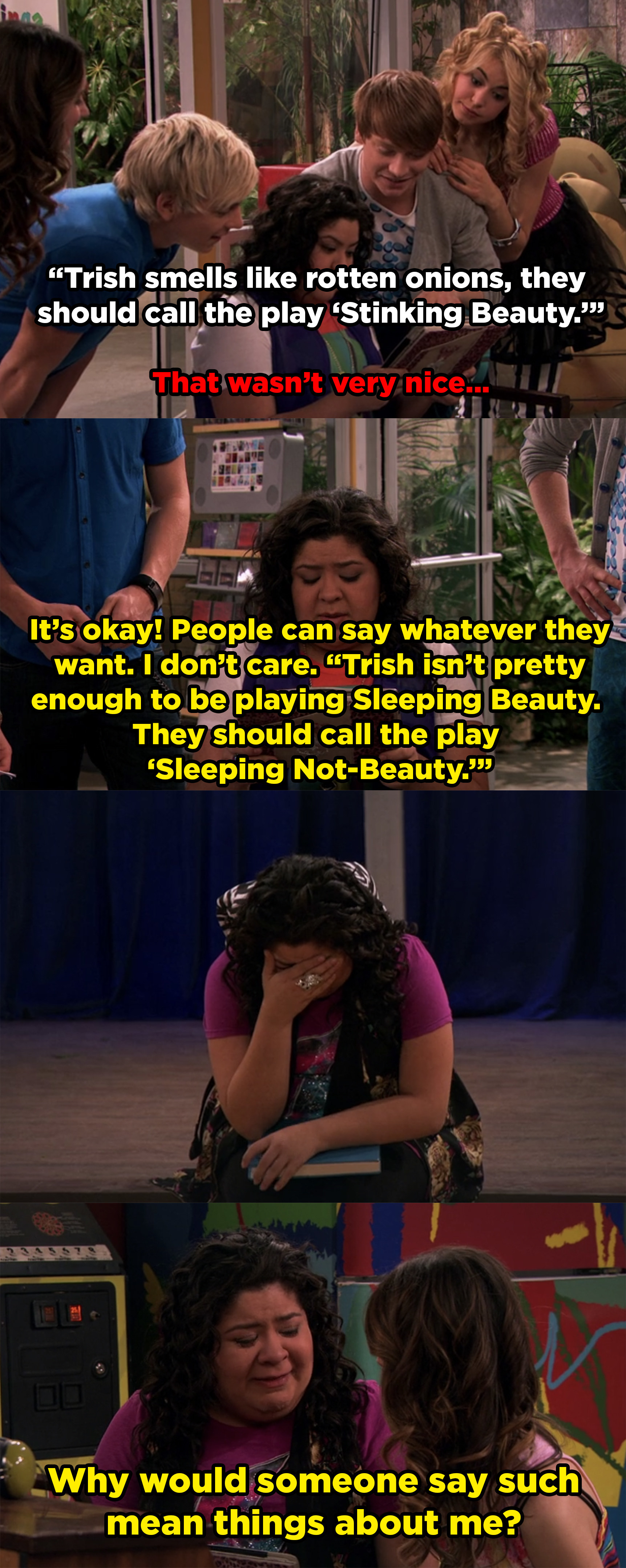 Internet comments say that Trish is ugly and she smells and then she cries to Ally about it.