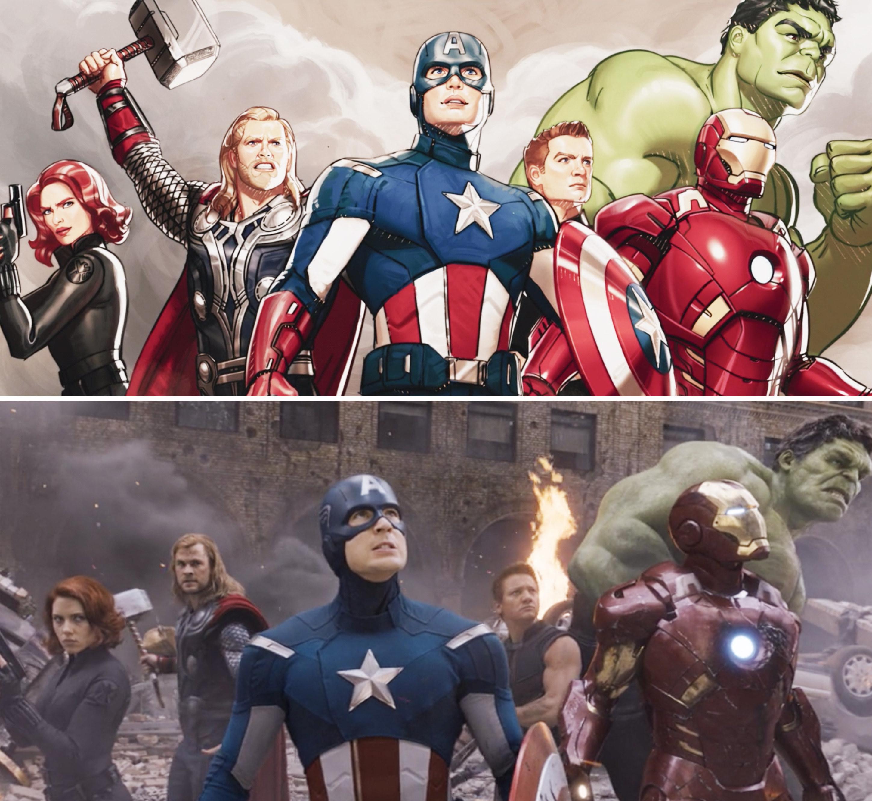 Natasha, Thor, Captain America, Hawkeye, Iron Man, and Hulk standing together