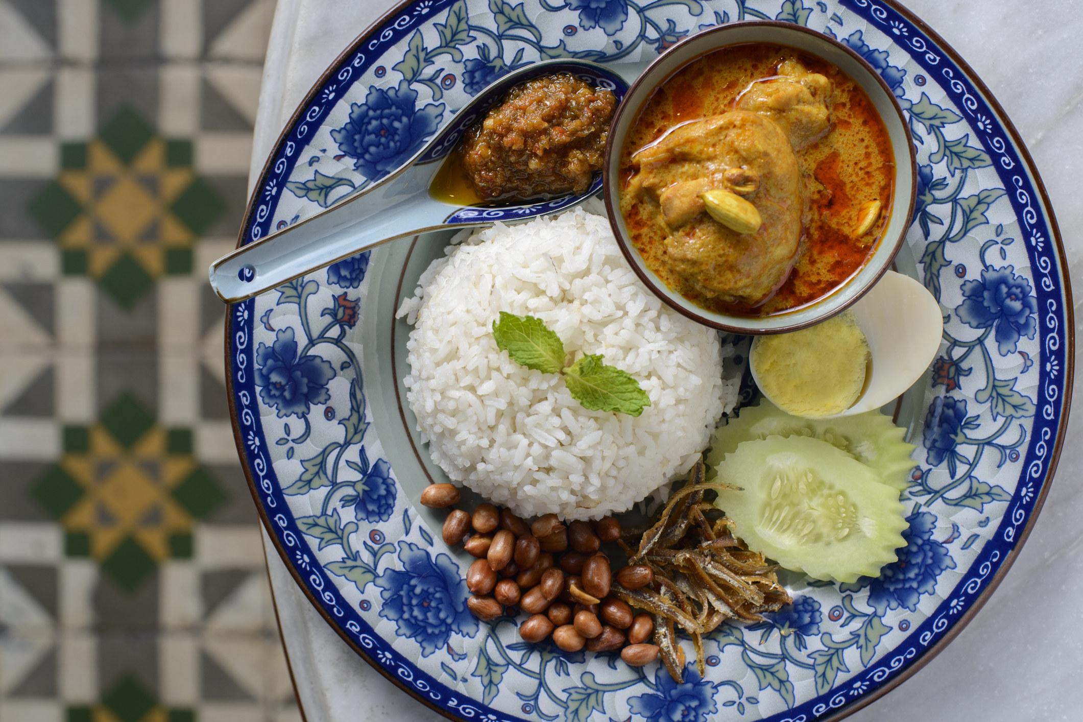 Malaysian Nasi Lemak on a beautiful plate.