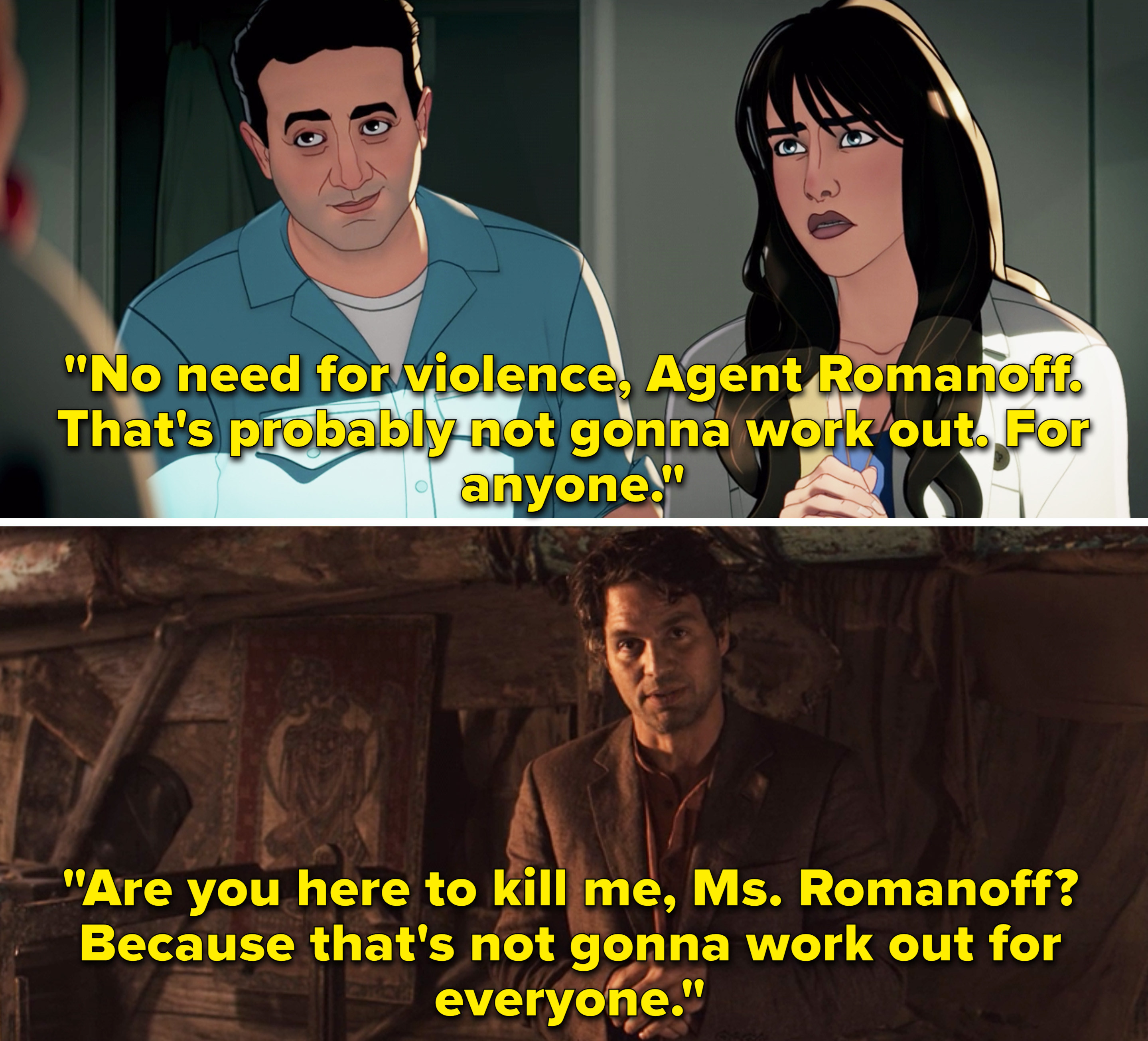 """Bruce saying, """"Are you here to kill me, Ms. Romanoff? Because that's not gonna work out for everyone"""""""