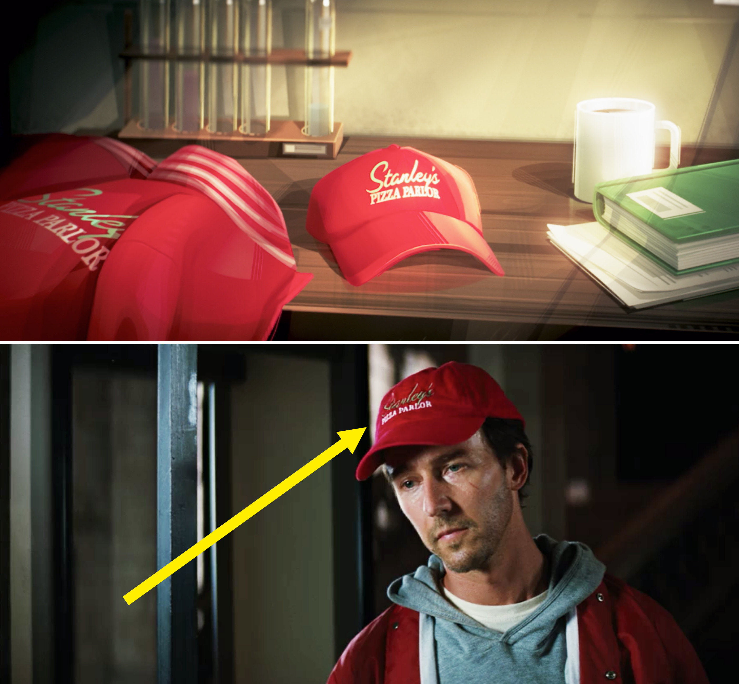 """A close-up of a red baseball cap reading, """"Stanley's Pizza Parlor"""""""