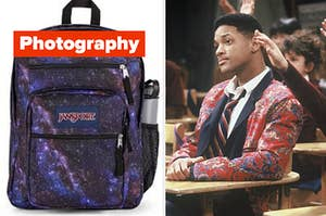 """A backpack is on the left labeled, """"photography"""" with Will Smith in a desk on the right"""