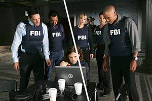 The FBI BAU team stands around a small laptop while conducting a mission