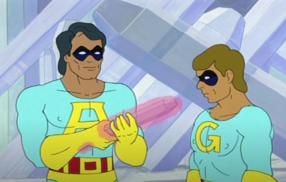 Screenshot of Ace holding a phallic crystal while Gary looks on