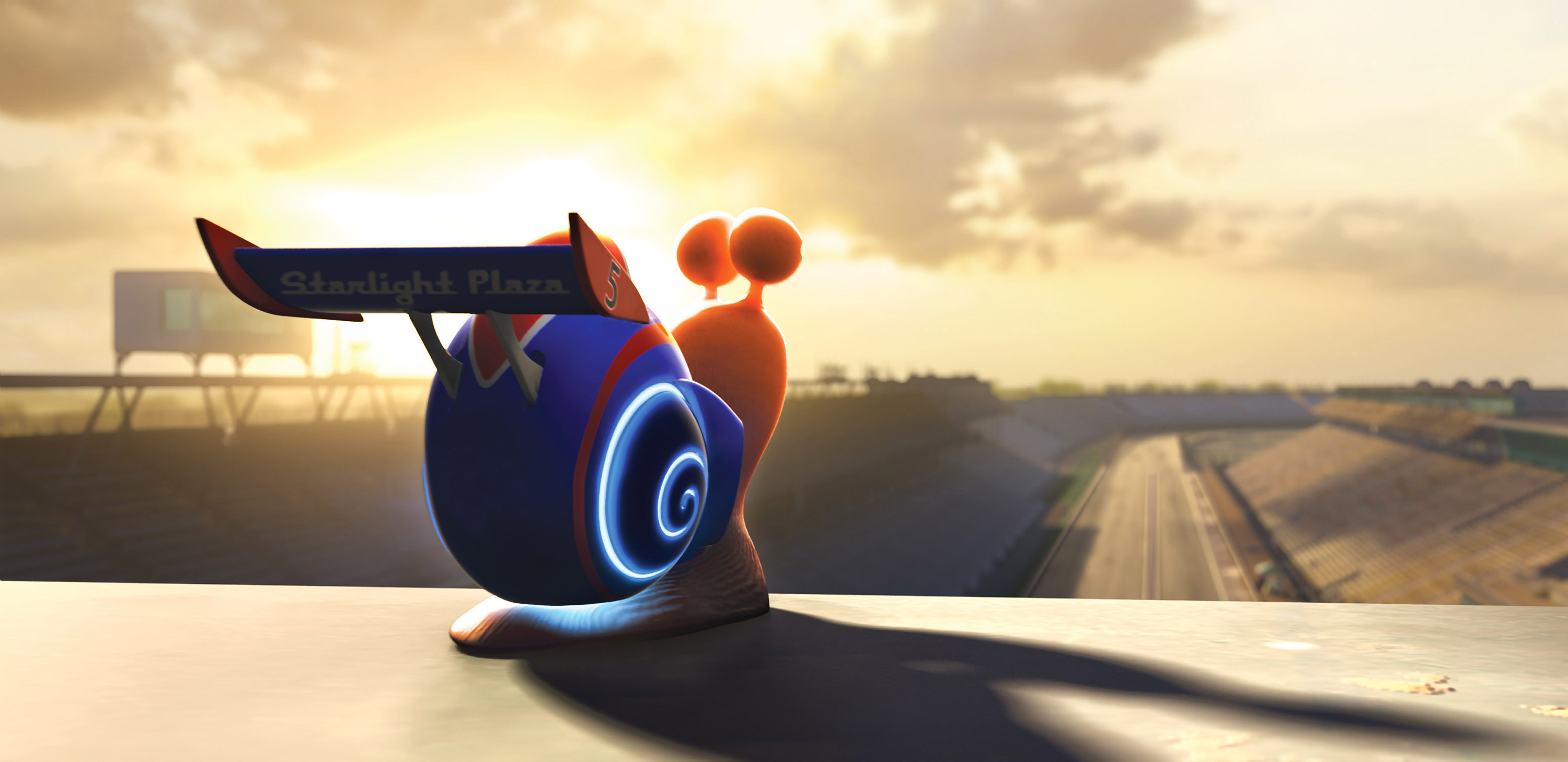Turbo the snail overlooking a race track