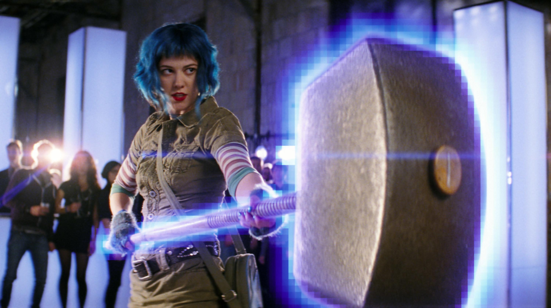 Ramona from Scott Pilgrim holding a giant hammer