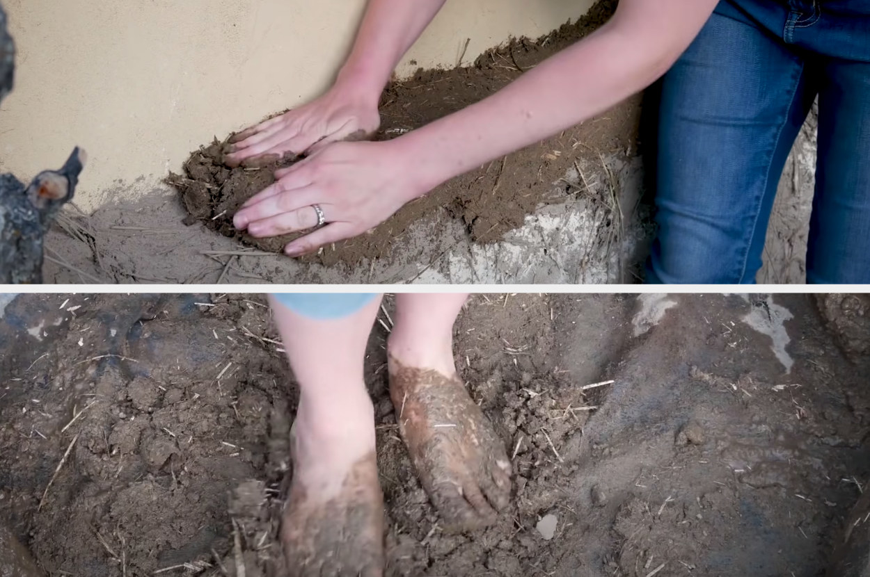 Someone demonstrates the construction process by mixing clay with their feet and patting it on the side of the home with their hands