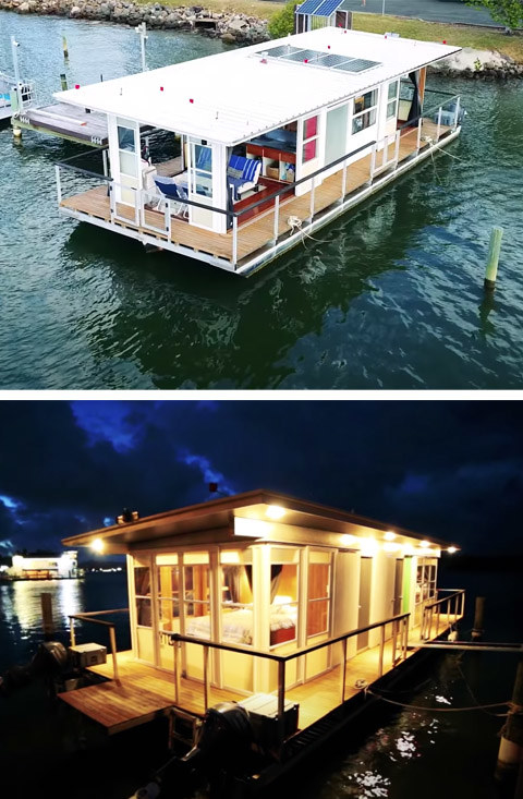 The houseboat floats on water and lights up at night