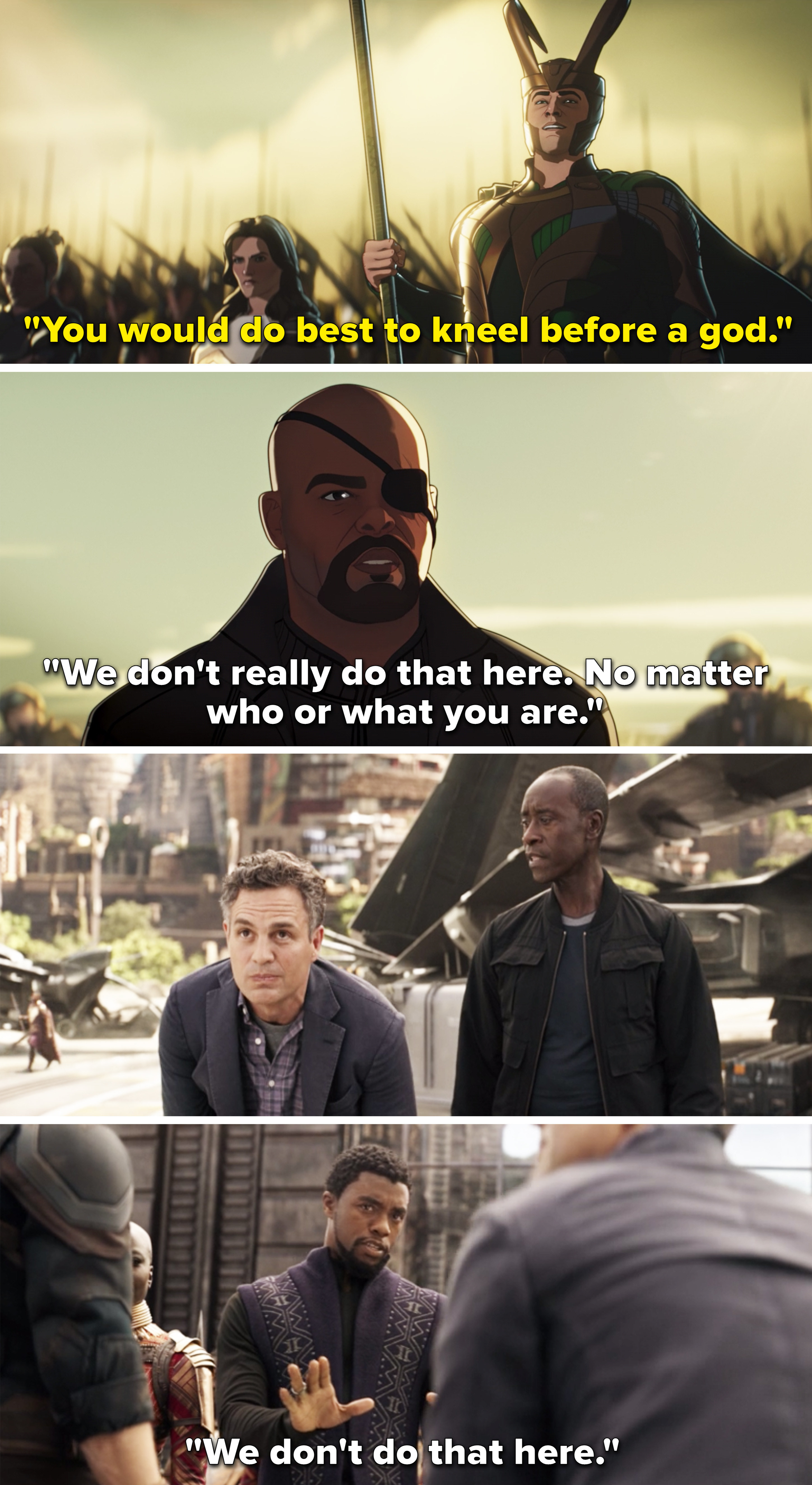 """Fury and T'Challa both saying, """"We don't do that here"""""""