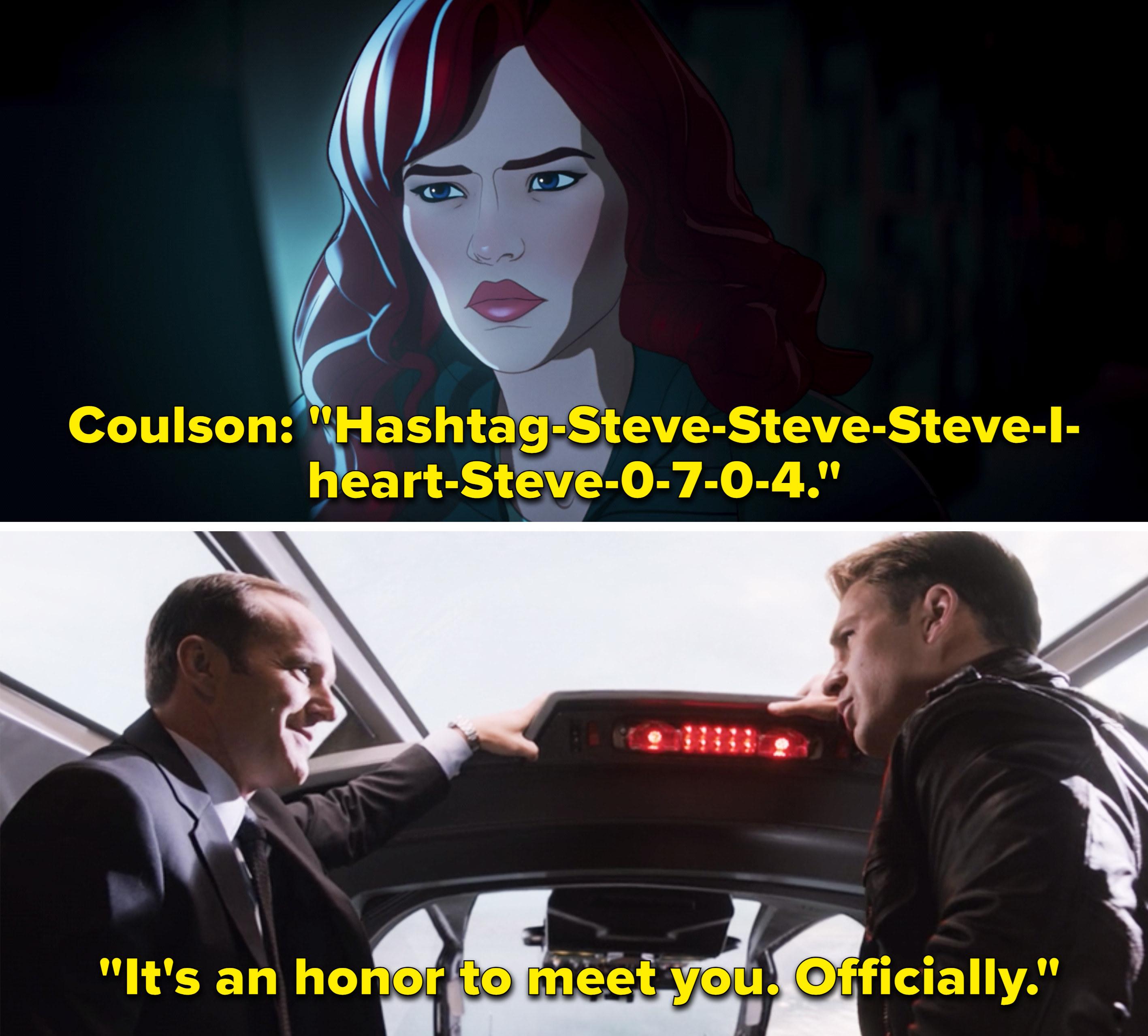 """Coulson saying, """"Hashtag Steve Steve Steve I heart Steve 0 7 0 4"""""""