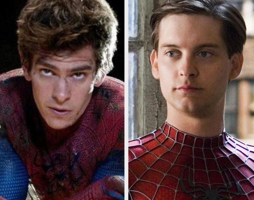 Andrew Garfield and Tobey Maguire as Spider-Man