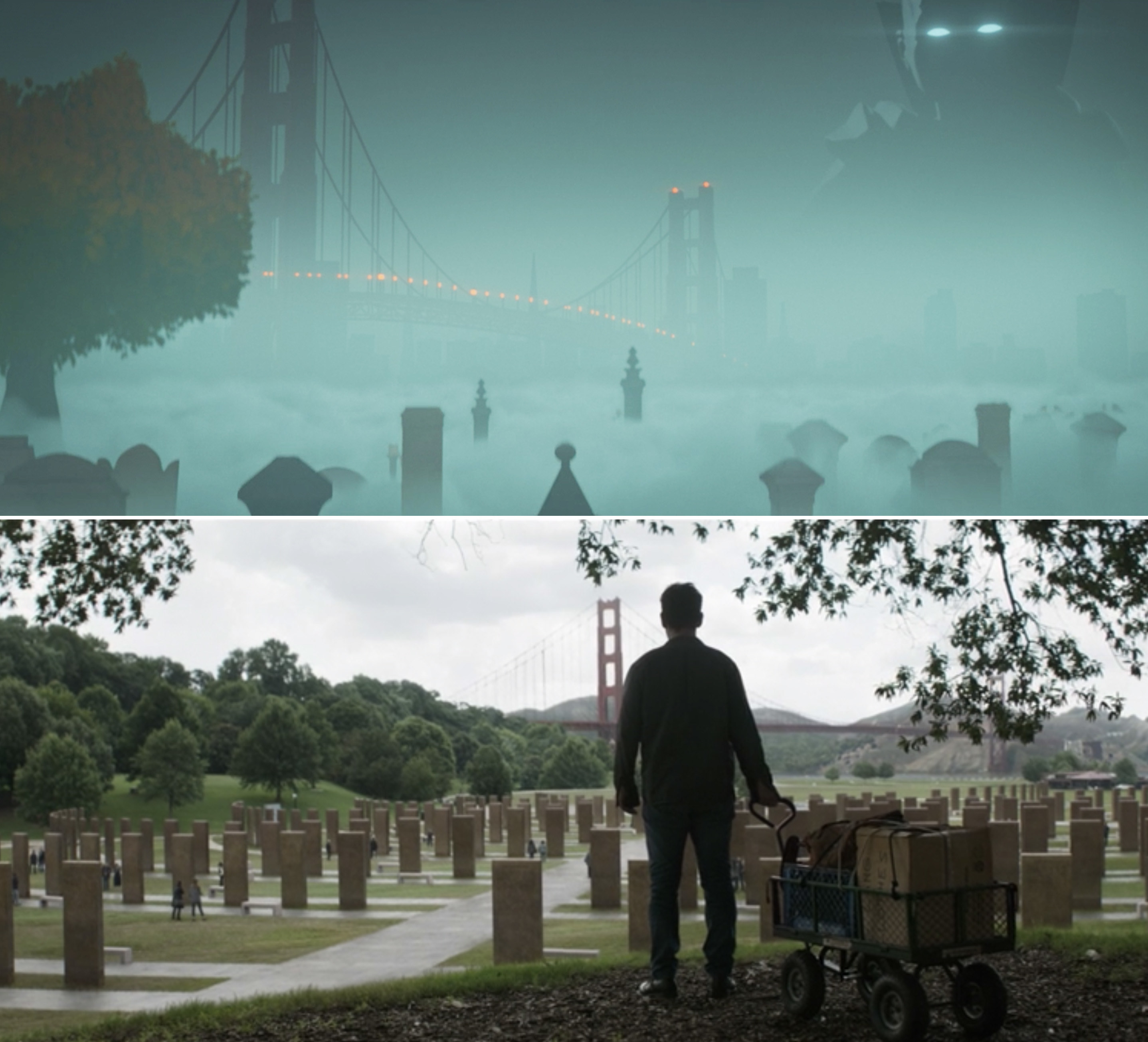 A cemetery near the Golden Gate Bridge vs. Scott visiting the Wall of the Vanished