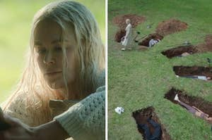 A close-up of Masha next to an image of the Nine Perfect Strangers guests lying in open graves