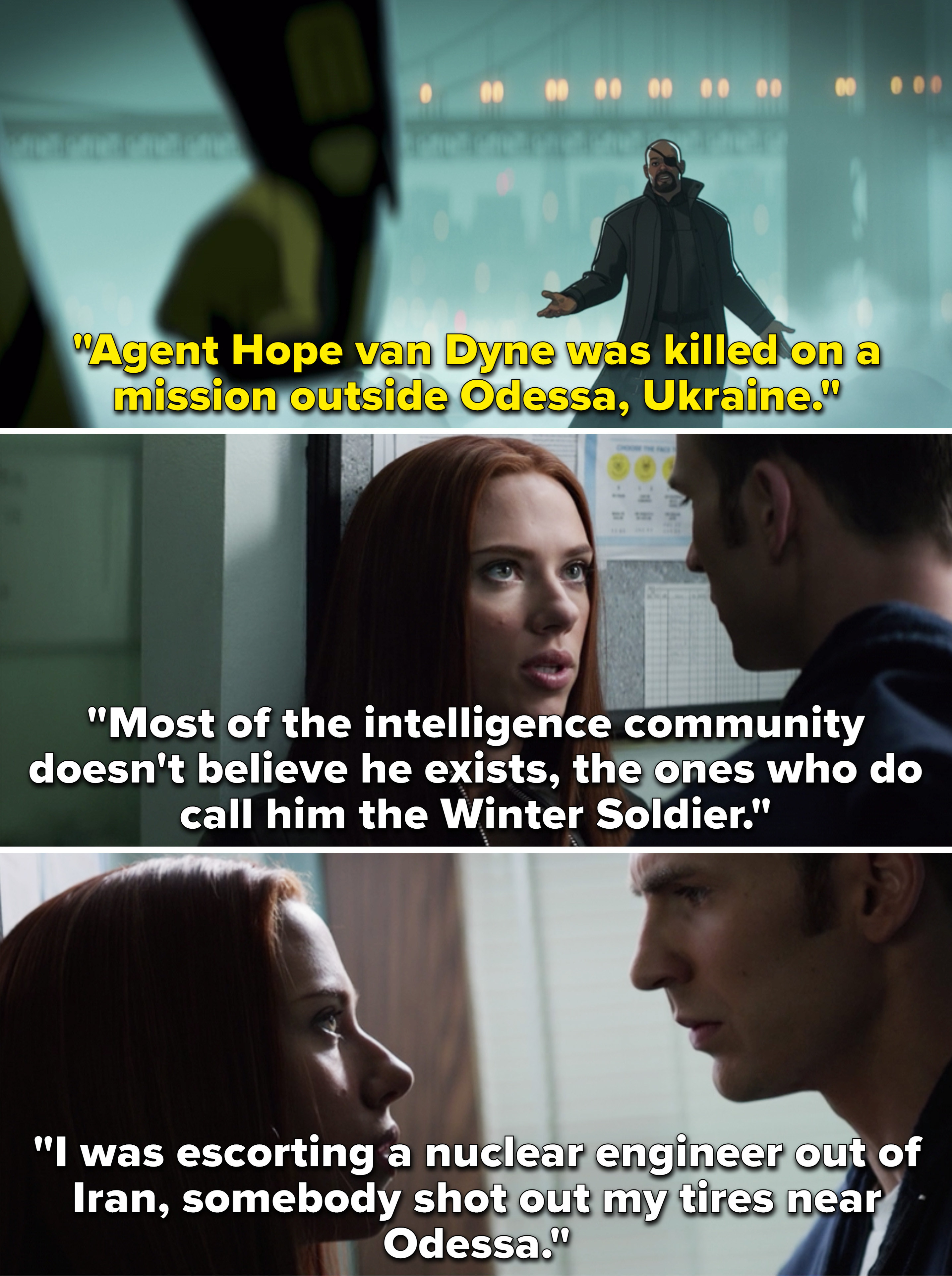 Fury saying Hope was killed in Odessa vs. Natasha telling Steve the Winter Soldier was in Odessa while she was there