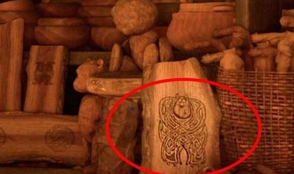 """A carving of Sully from """"Monsters Inc."""" in """"Brave"""""""