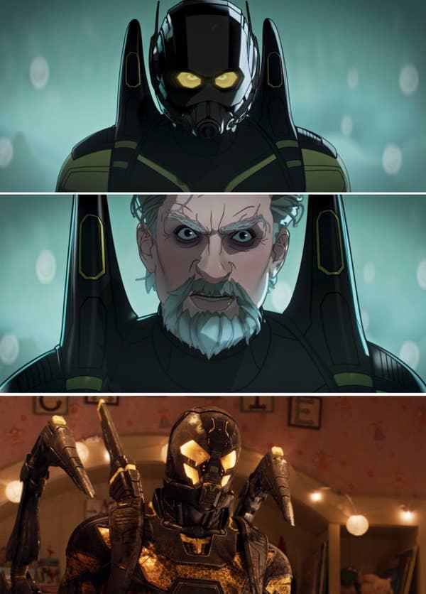 Hank as Yellowjacket vs. Yellowjacket in Ant Man