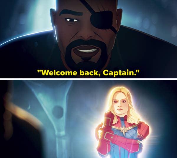 "Fury telling Captain Marvel, ""Welcome back, Captain"""