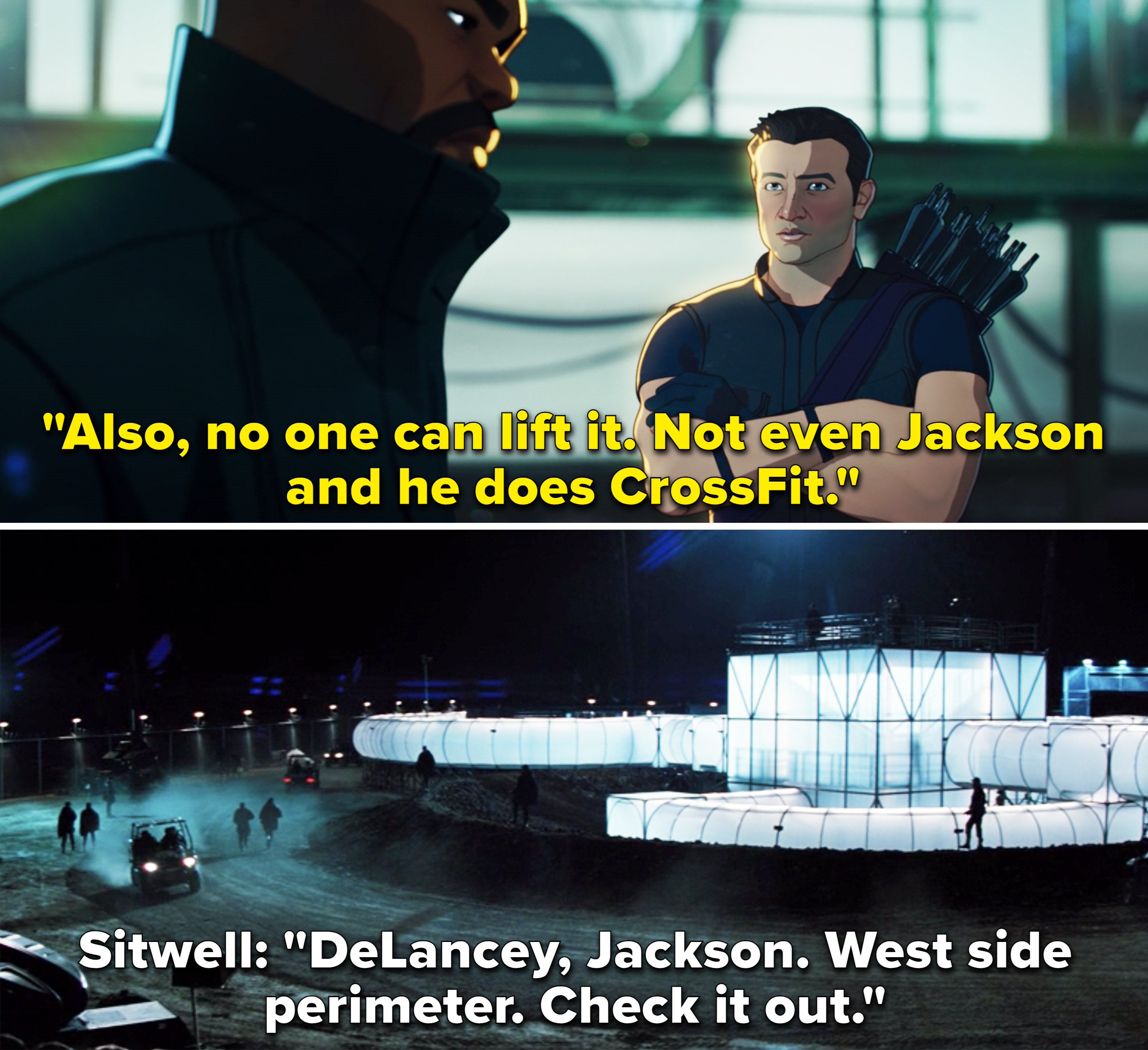 """In Thor, Sitwell saying, """"DeLancey, Jackson. West side perimeter. Check it out"""""""