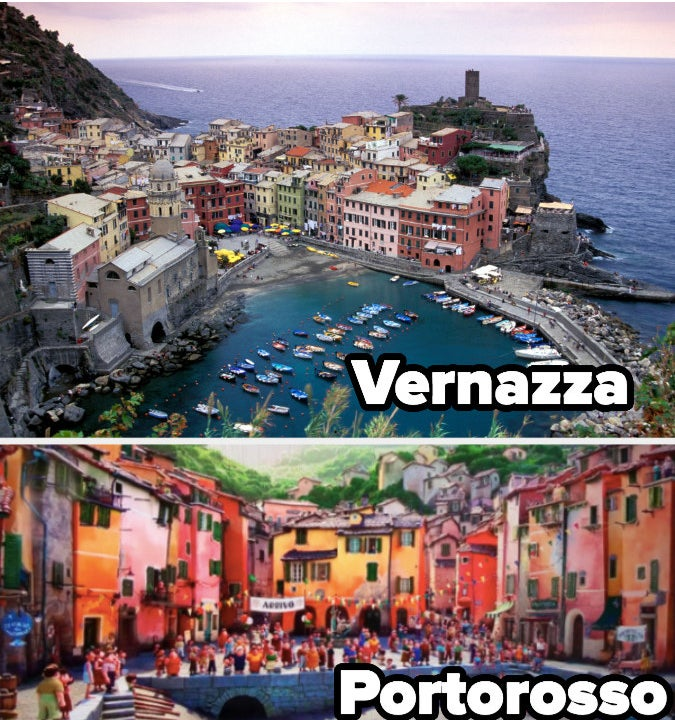 """A comparison of Vernazza, Italy and the town Portorosso, which is in the movie """"Luca"""""""