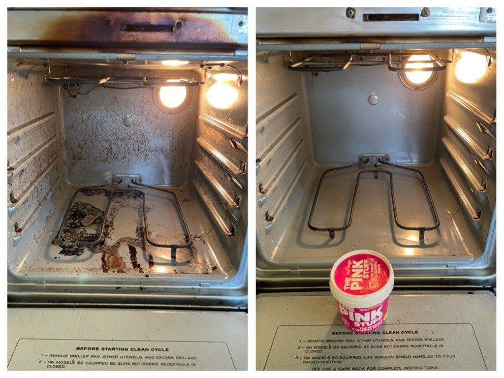 A reviewer's oven before/after cleaning, showing baked on brown stains being removed
