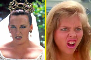 Left: Muriel in a wedding dress and wearing a veil; Right: Tania Degano with her mouth open in disgust