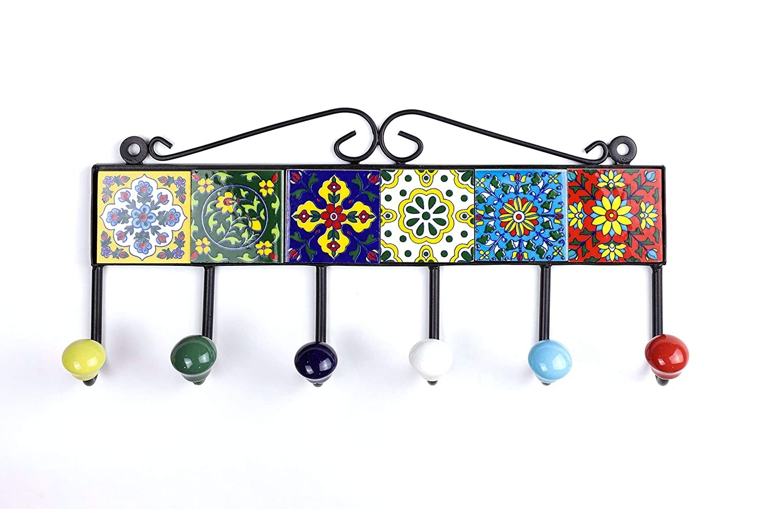 An iron key holder fitted with colorful blue pottery tiles and 6 colourful ceramic hook ends