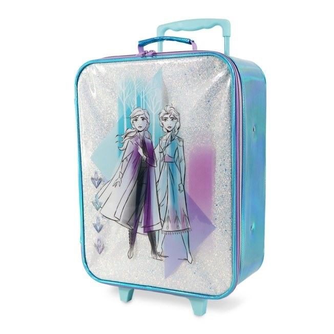 The Elsa and Anna rolling luggage with sparkling silver glitter and an iridescent trim
