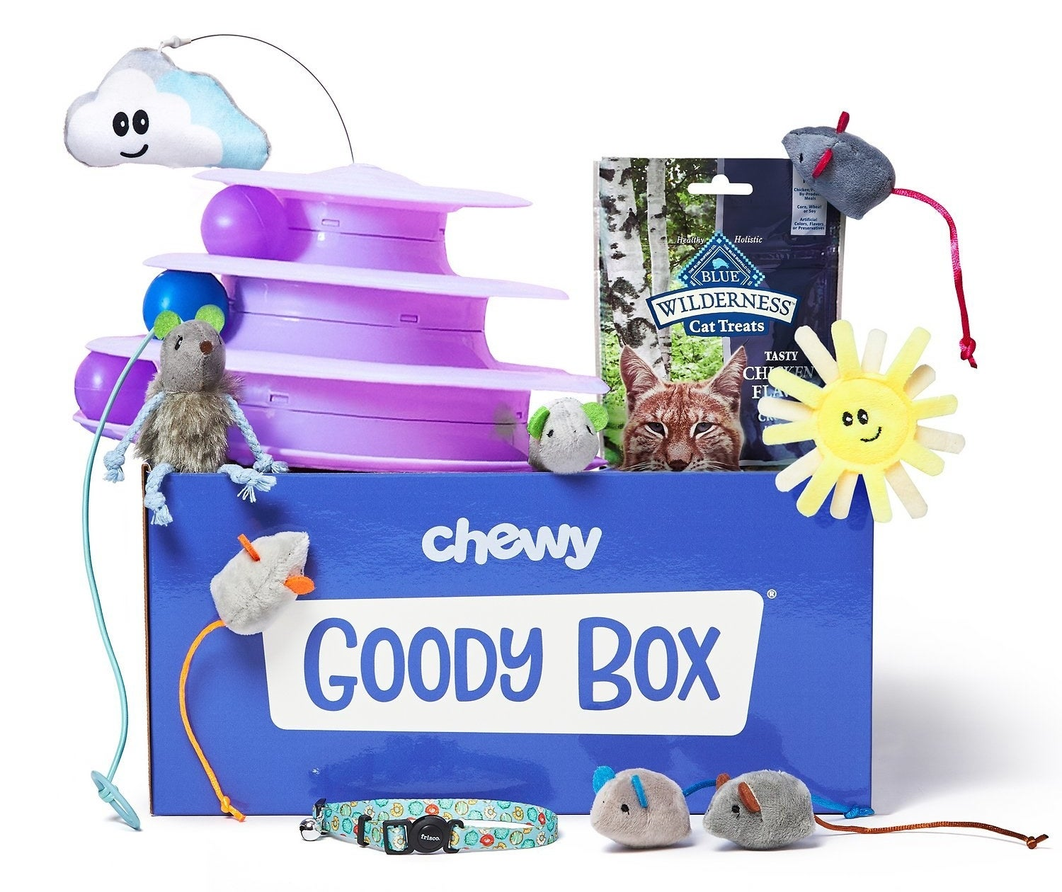 A Chewy Goody Box with toy mice, treats, a collar, and various toys