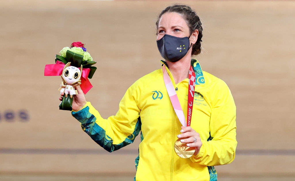 Gold medalist Emily Petricola of Team Australia poses during the medal ceremony for Track Cycling Women's C4 3000m Individual Pursuit