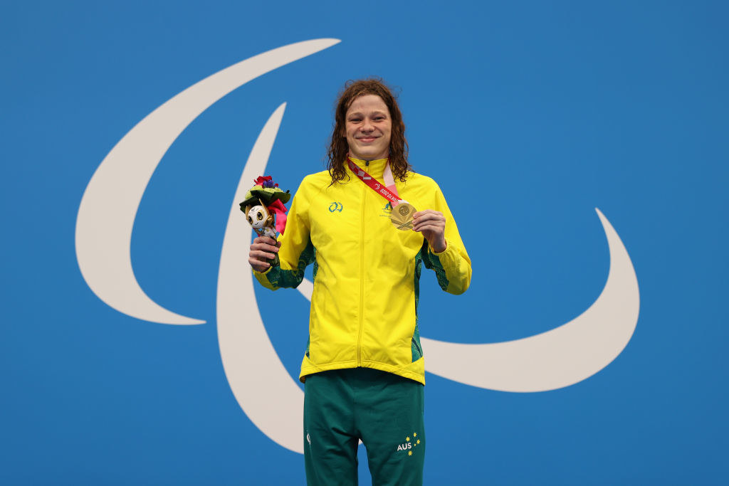 Ben Popham of Team Australia celebrates winning gold in the men's 100m Freestyle - S8 final
