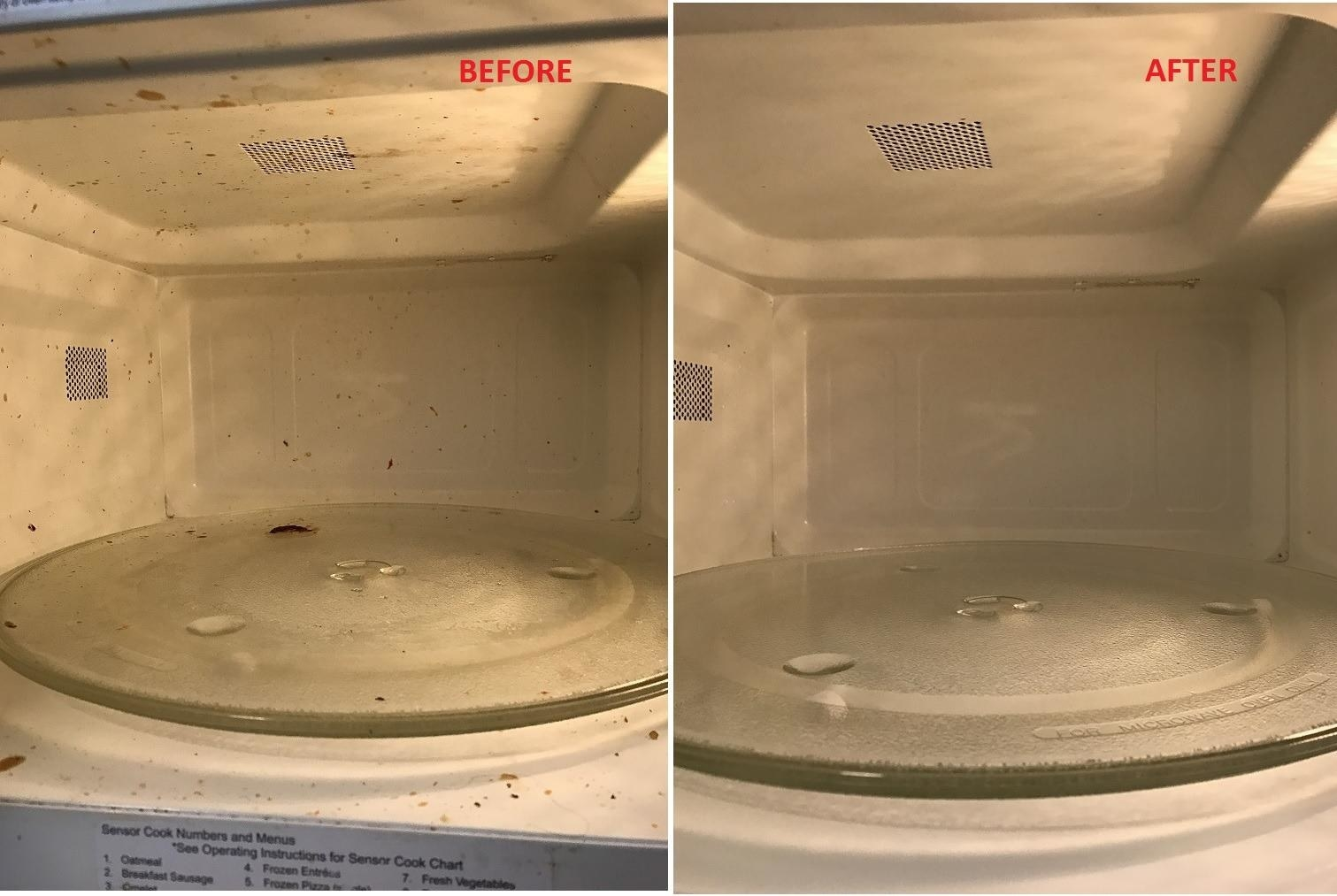 side by side of a dirty microwave with food splatter inside it next to an image of the same microwave looking totally clean after the steamer was used