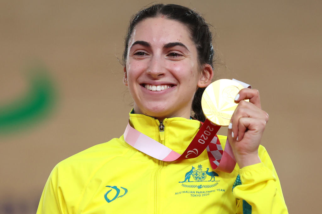 Gold medalist Paige Greco of Team Australia poses during the medal ceremony for Track Cycling Women's C1-3 3000m Individual Pursuit