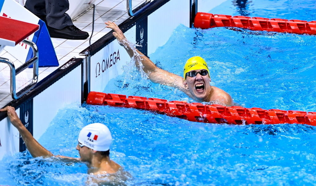 William Martin of Australia celebrates winning the Men's S9 400m Freestyle