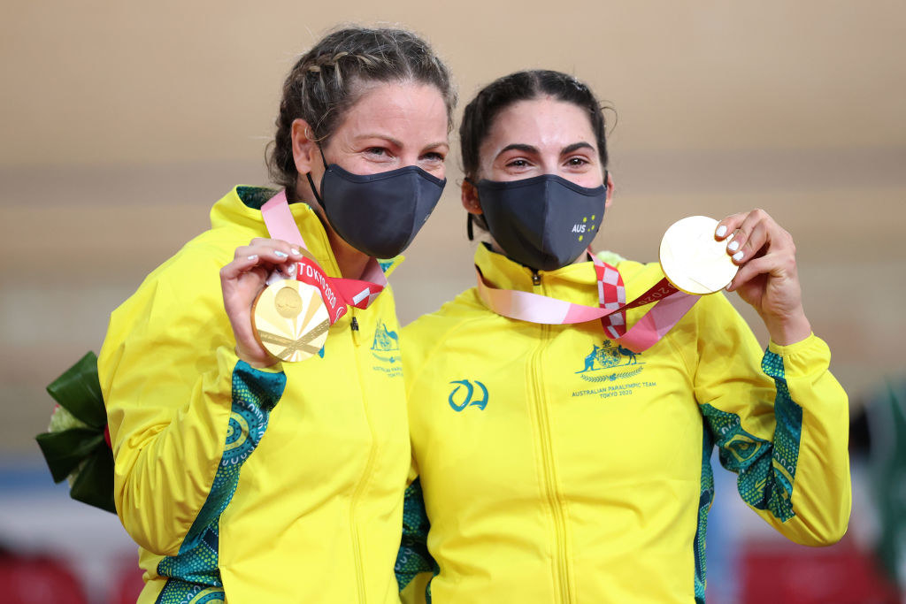 Emily Petricola (L) and Paige Greco (R) holding up their gold medals