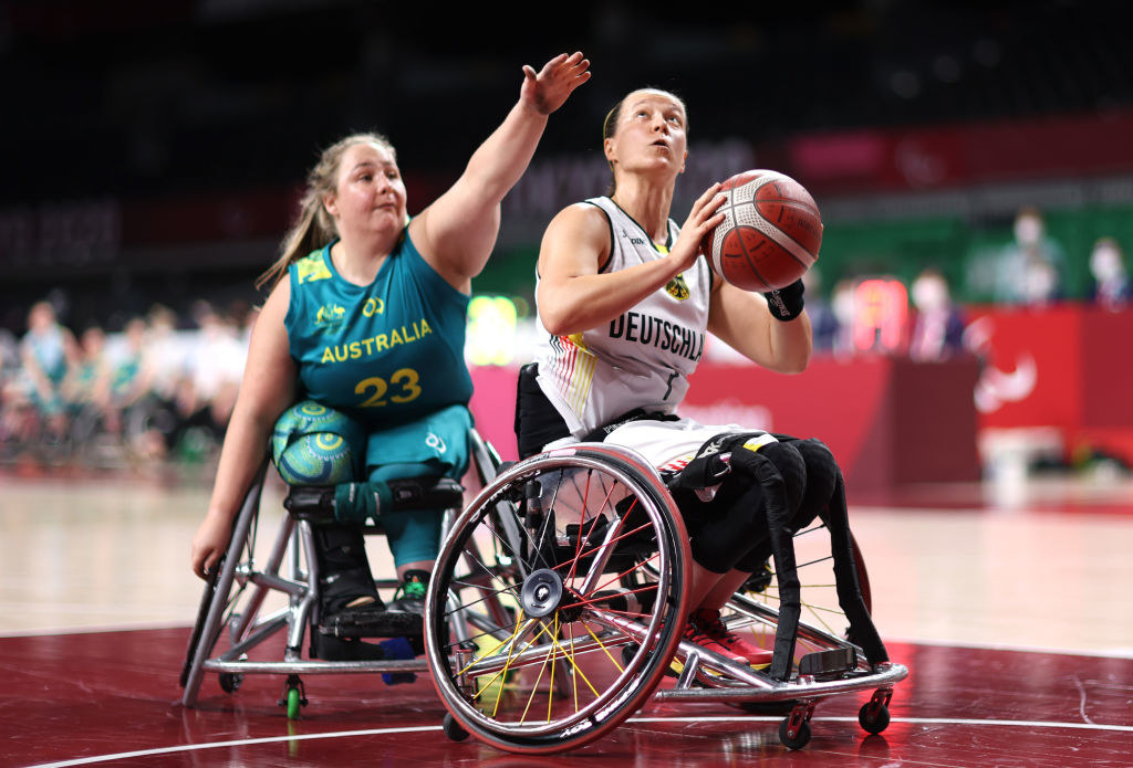 Natalie Alexander of Team Australia during the Wheelchair Basketball Women's preliminary round group A match between team Germany and team Australia