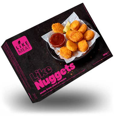 A box showing a bowl of chicken nuggets inside