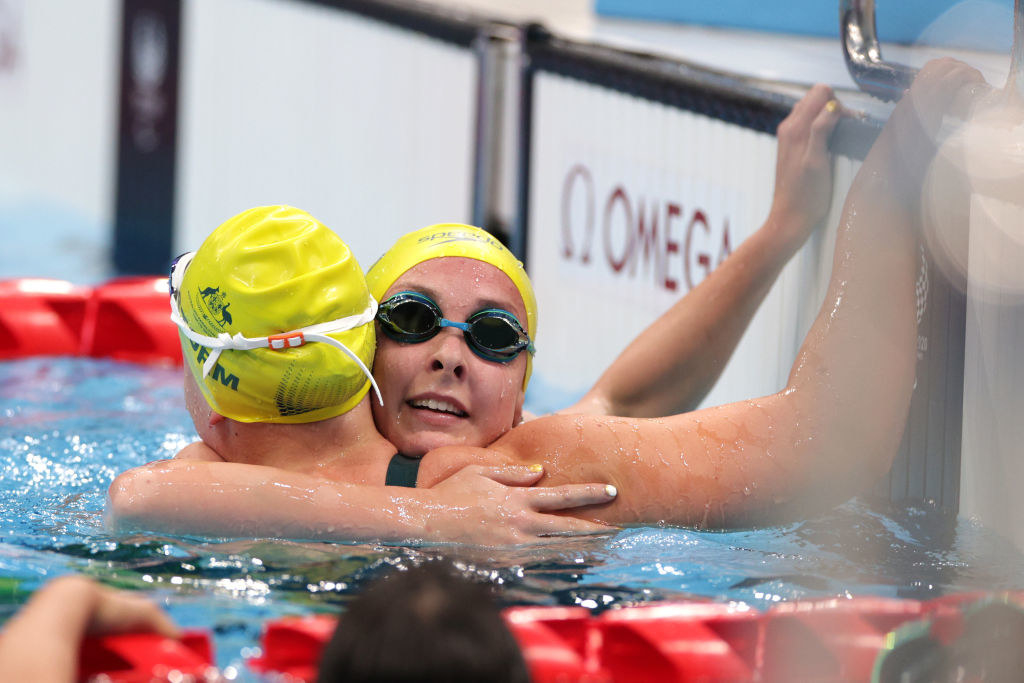 Paige Leonhardt and Ruby Storm of Team Australia celebrate after winning gold and bronze