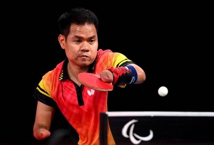 Chalermpong Punpoo of Thailand in action during a table tennis practice session ahead of the Tokyo 2020 Paralympic Games