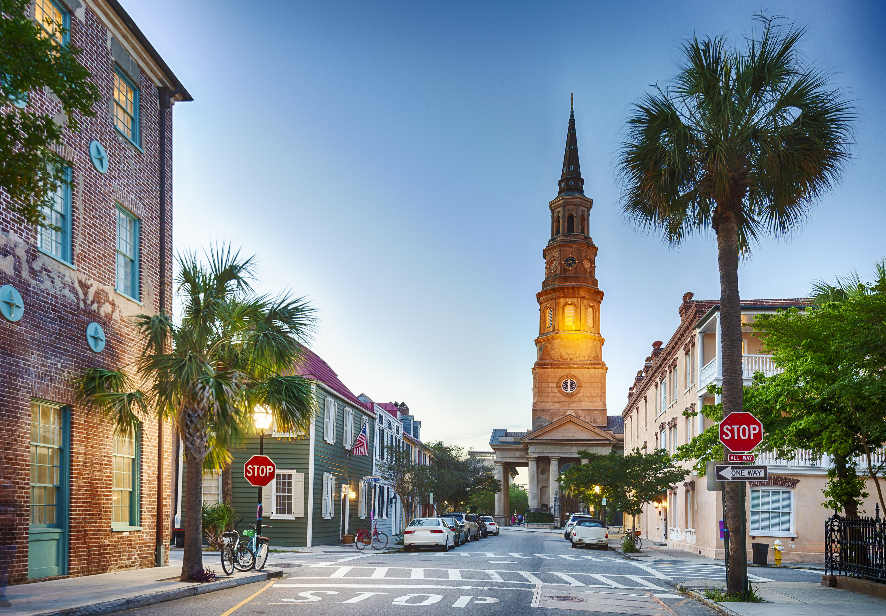 Downtown Charleston in the evening