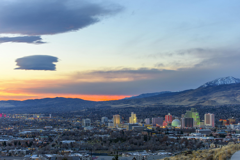 Sunset over Reno, Nevada