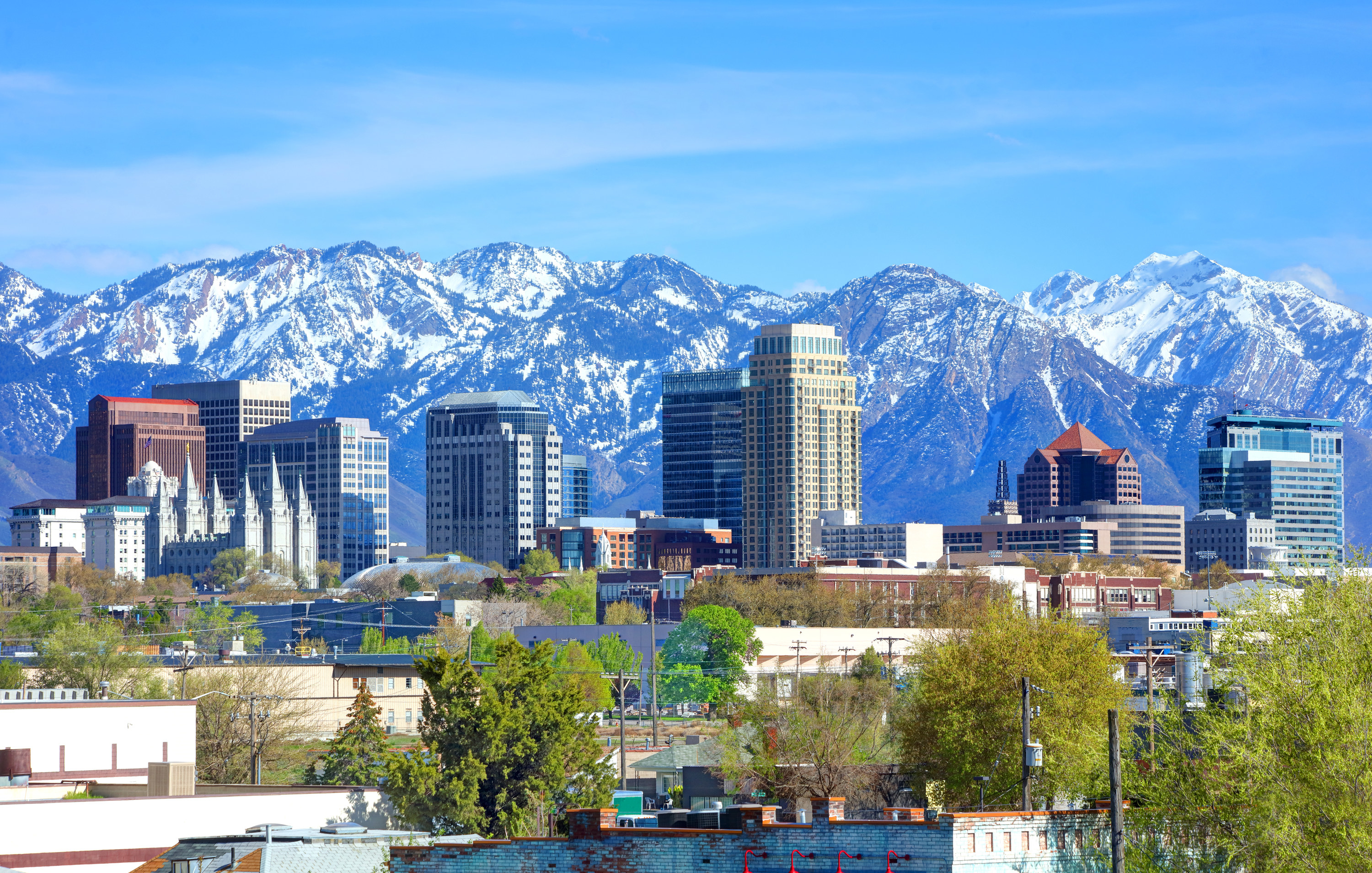 View of Salt Lake City and the mountains from a distance