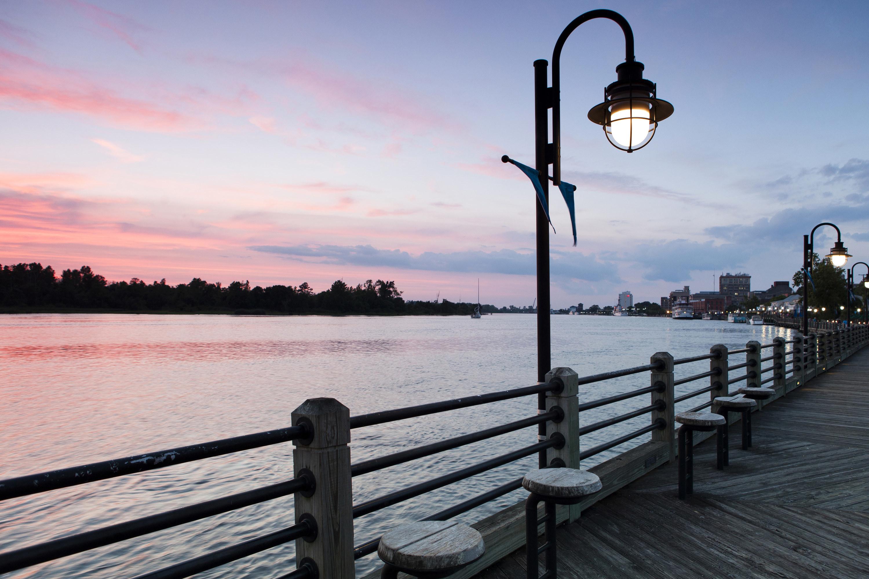 Sunset near the riverwalk in Wilmington