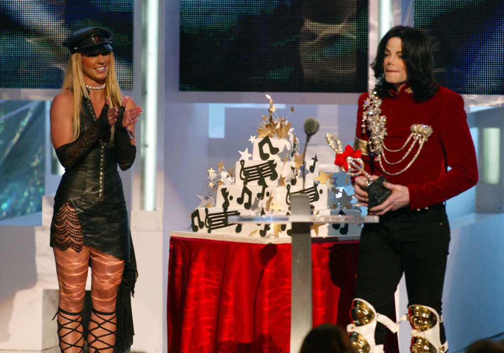 Britney Spears and Michael Jackson on stage at the 2002MTV VMAs